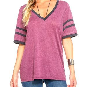 Chaser Purple Jersey V-Neck Football Tee Size Med